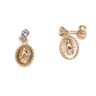 Pori 14k Solid Gold Swarovski Crystal Guadalupe Dangle Earrings