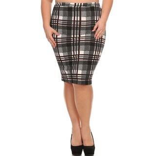 Women's Multicolor Plus-size Plaid Pencil Skirt