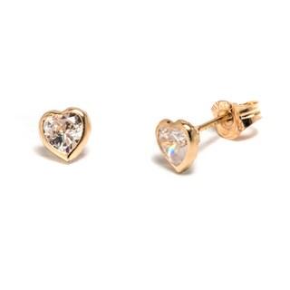 Pori 14k Yellow Gold and Swarovski Crystal Heart Stud Earrings