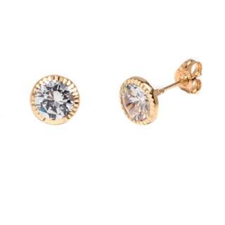 Pori 14k Solid Yellow Gold Swarovski Crystal Circle Stud Earrings