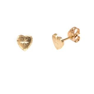 Pori 14k Solid Gold Heart Stud Earrings