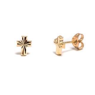Pori 14k Solid Gold Cross Stud Earrings