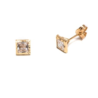 Pori 14k Solid Gold Square Stud Earrings With Swarovski Crystals