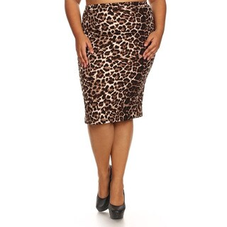 Women's Cheetah-print Plus-size Pencil Skirt