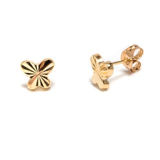 Pori 14k Fluted Solid Gold Butterfly Stud Earrings