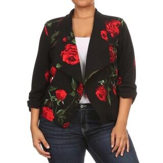 Women's Black Spandex Plus Size Floral Blazer Style Jacket