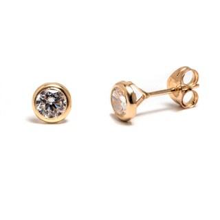 Pori 14k Solid Gold Crystal Circle Stud Earrings