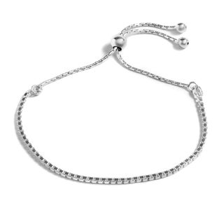Pori Jewelers Sterling Silver Box Link Adjustable Bracelet