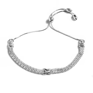 Pori Jewelers Sterling Silver Coreana X Adjustable Bracelet