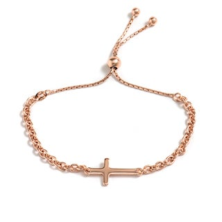 Pori Jewelers 18k Rose Goldplated Sideways Cross Adjustable Bracelet