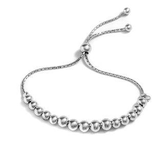 Pori Jewelers Sterling Silver Graduated Ball Adjustable Bracelet