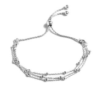 Pori Jewelers Sterling Silver 3-row Diamond-cut Ball Adjustable Bracelet