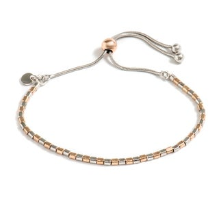 Pori Jewelers 18K Rose Gold Plated Sterling Silver Box Adjsutable Bracelet