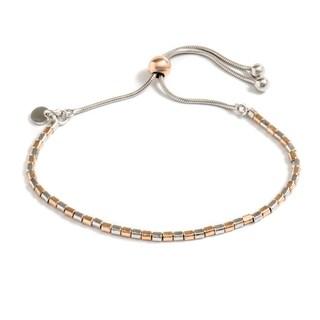 Pori Jewelers Rose Gold Plated Sterling Silver Box Adjsutable Bracelet