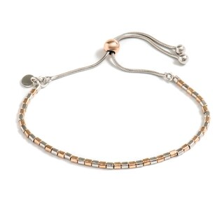 Pori Jewelers Rose Gold Plated Sterling Silver Box Adjsutable Bracelet