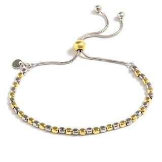 Pori Jewelers 2-tone 18k Gold-plated Sterling Silver Box Adjustable Bracelet