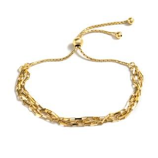 Pori Jewelers Women's 18k Goldplated Sterling Silver Open Box Link Adjustable Bracelet