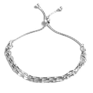 Pori Jewelers Sterling Silver Open Box Link Adjustable Bracelet