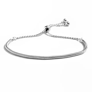Pori Jewelers Sterling Silver Round Snake Chain Adjustable Bracelet