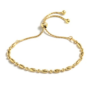 Pori Jewelers 18k Goldplated Sterling Silver Diamond-Cut Oval Adjustable Bracelet