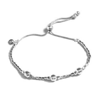 Pori White Sterling Silver Box Adjustable Bracelet