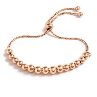 Pori Jewelers 18k Rose Gold-plated Sterling Silver Graduated Ball Adjustable Bracelet