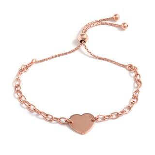 Pori Jewelers 18k Rose Goldplated Sterling-silver Flat Heart Adjustable Bracelet