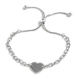 Pori Jewelers Sterling-silver Heart Charm Adjustable Bracelet