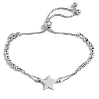 Pori Jewelers Sterling Silver Star Charm Adjustable Bracelet