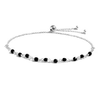 Pori Jewelers Sterling Silver Black Onyx Adjustable Bracelet