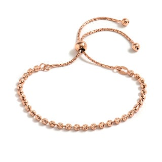 Pori Jewelers 18k Rose Gold-plated Sterling Silver Diamond-cut Adjustable Bracelet