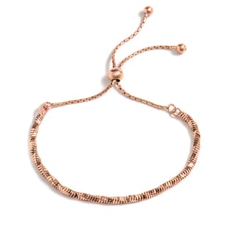 Pori Jewelers 18k Rose-goldplated Sterling Silver Twisted Snake Chain Adjustable Bracelet