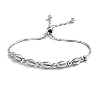 Pori Jewelers Sterling-silver Plain Oval Adjustable Bracelet