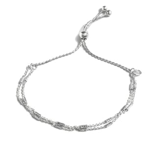 Pori Jewelers Sterling Silver 2-row Tubebrite Adjustable Bracelet