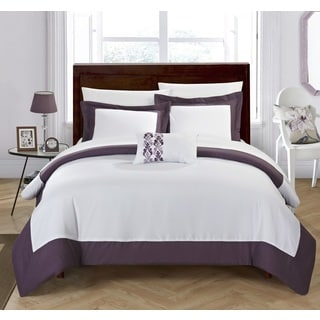 Chic Home 4-Piece Uma Plum Reversible Duvet Cover Set