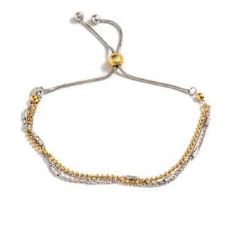 Pori Jewelers Two Tone 18K Goldplated Sterling Silver Tubebrite Adjustable Bracelet