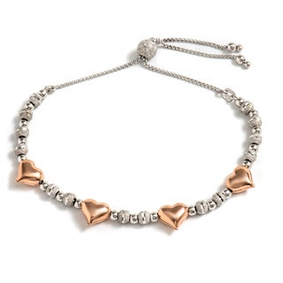 Pori Jewelers 2-tone 18k Rose Gold-plated Sterling Silver Mini Puff Hearts Adjustable Bracelet