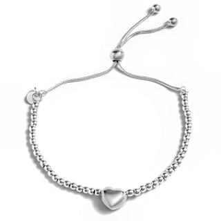 Pori Jewelers Sterling Silver Puff Heart Charm Adjustable Bracelet