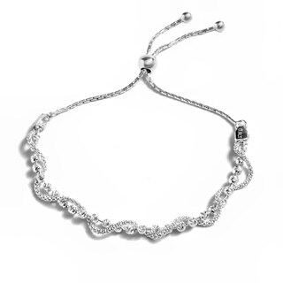 Pori Jewelers Sterling Silver Diamond-cut Ball Twisted Coreana Adjustable Bracelet