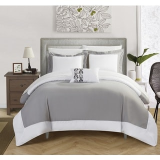 Chic Home 4-Piece Uma Grey Reversible Duvet Cover Set