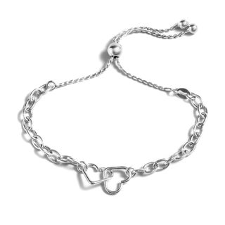 Pori Jewelers Sterling Silver Twin Open Hearts Adjustable Bracelet