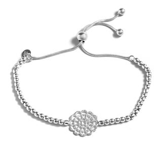 Pori Jewelers Sterling Silver Flower Adjustable Bracelet