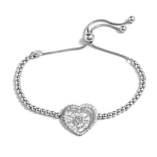 Pori Jewelers Sterling Silver Heart Charm Adjustable Bracelet