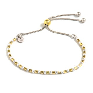 Pori Jewelers 2-tone 18k Goldplated Sterling-silver Freshwater Pearl Adjustable Bracelet