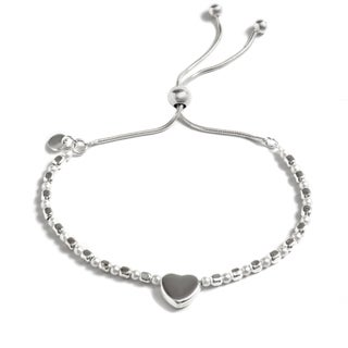 Pori Jewelers Sterling-silver Mini Heart Charm Freshwater Pearl Adjustable Bracelet