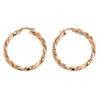 Pori 14k Solid Gold Twisted Tri-tone Hoop Earrings|https://ak1.ostkcdn.com/images/products/14051950/P20667092.jpg?impolicy=medium