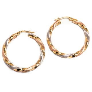 Pori 14k Gold Tri-color Twisted Hoop Earrings