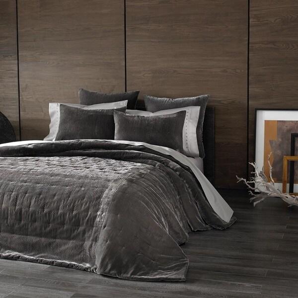 Kevin O'Brien Cirrus Texture Pewter Grey Velvet Oversized Coverlet