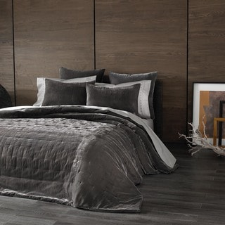 Kevin O'Brien Cirrus Texture Pewter Grey Velvet Oversized Coverlet