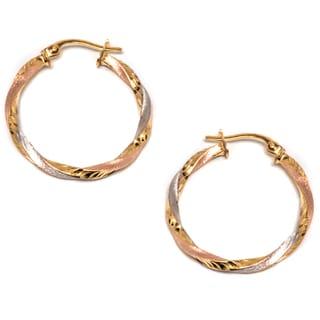 Pori 14K Gold Tri-tone Hoop Earrings